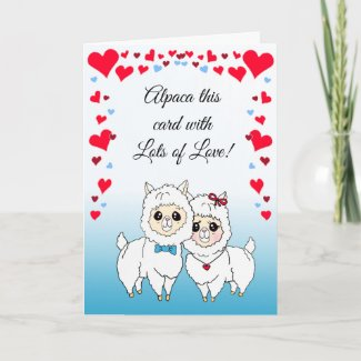 Alpacas and LLamas Funny Valentine's Day Card