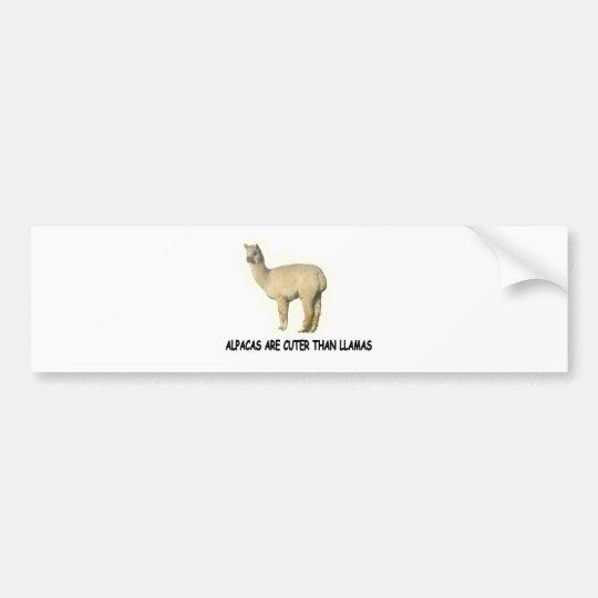 Alpacas are cuter than llamas bumper sticker