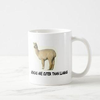 Alpacas are cuter than llamas classic white coffee mug