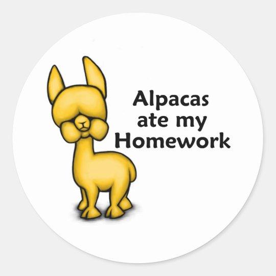 Alpacas ate my Homework Classic Round Sticker