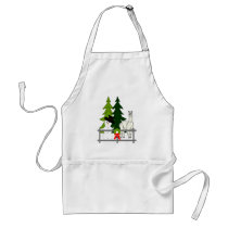 Alpacas Fun In the Snow Christmas Holiday Apron
