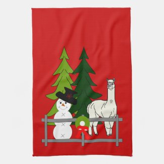 Alpacas Fun In The Snow Christmas Kitchen Towel