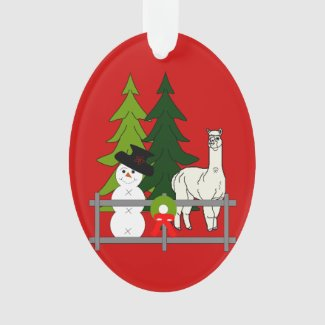 Alpacas Fun In The Snow Christmas Oval Ornament