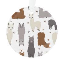 Alpacas Geo Pattern Ornament
