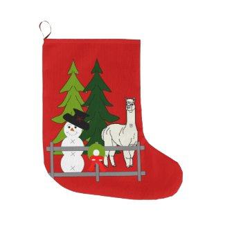 Alpacas Group Red Christmas Stocking