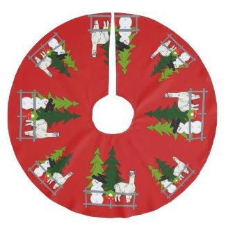Alpacas Group Red Christmas Tree Skirt