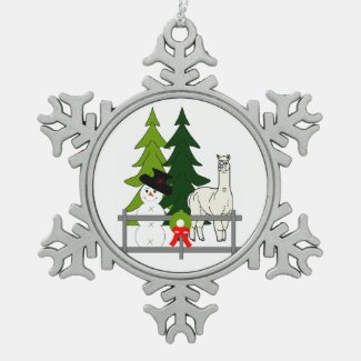 Alpacas In The Snow Snowflake Ornament