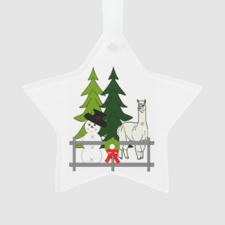 Alpacas In The Snow Star Ornament Decoration