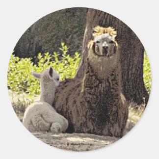 Alpacas - Mom & Baby Classic Round Sticker