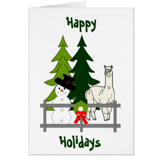 Alpacas Rock Happy Holidays Greeting Card
