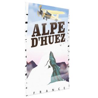 Alpe d'Huez, France ski travel poster Canvas Print