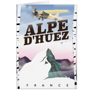 Alpe d'Huez, France ski travel poster Card