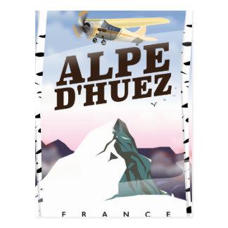 Alpe d'Huez, France ski travel poster Postcard