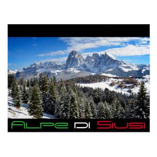 Alpe di Siusi in winter black text postcard