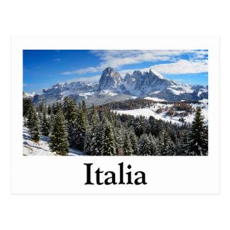 Alpe di Siusi, Italy in winter text postcard