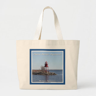 Alpena Harbor Lighthouse - Large Tote Bag