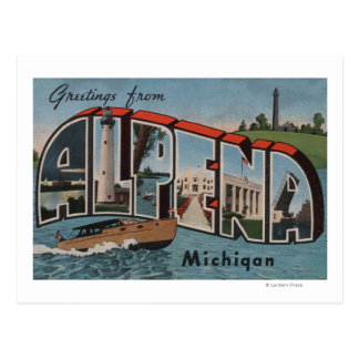 Alpena, Michigan - Large Letter Scenes Postcard