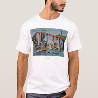 Alpena, Michigan - Large Letter Scenes T-Shirt