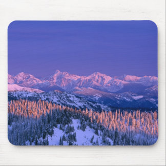 Alpenglow pega los picos del glaciar tapetes de raton