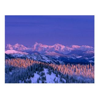 Alpenglow pega los picos del glaciar tarjetas postales