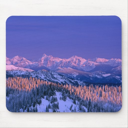 Alpenglow strikes the peaks of Glacier Mousepads