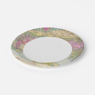 Alpenlander - Atlas Map of the Alps Paper Plate