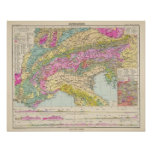 Alpenlander - mapa del atlas de las montañas poster