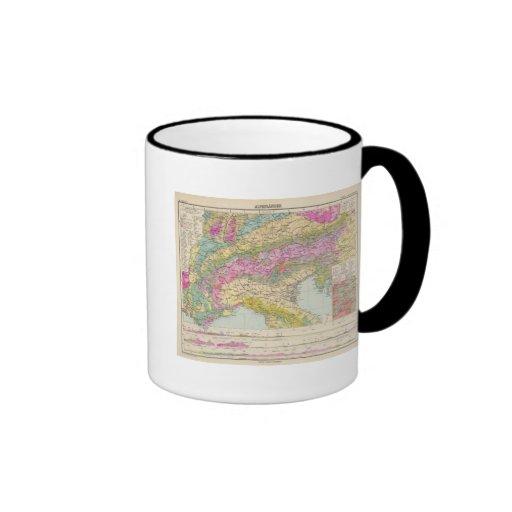 Alpenlander - mapa del atlas de las montañas tazas