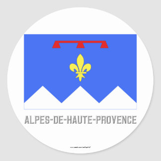 Alpes-de-Haute-Provence flag with name Round Stickers