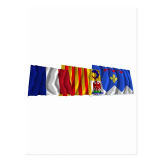 Alpes-de-Haute-Provence, PACA & France flags Postcard