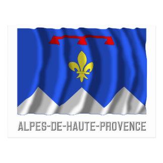 Alpes-de-Haute-Provence waving flag with name Postcard