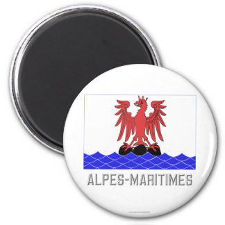 Alpes-Maritimes flag with name 2 Inch Round Magnet