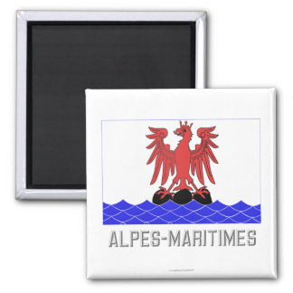 Alpes-Maritimes flag with name 2 Inch Square Magnet