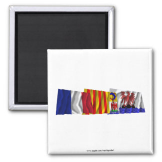 Alpes-Maritimes, PACA & France flags 2 Inch Square Magnet