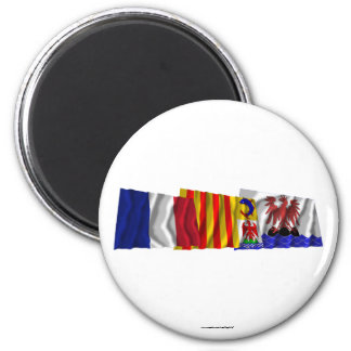 Alpes-Maritimes, PACA & France flags 2 Inch Round Magnet