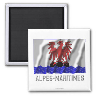Alpes-Maritimes waving flag with name 2 Inch Square Magnet