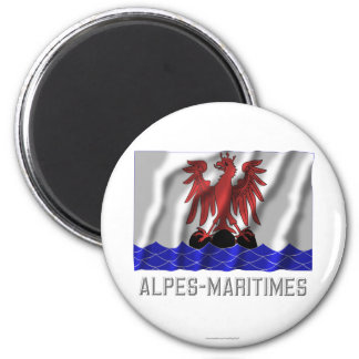 Alpes-Maritimes waving flag with name 2 Inch Round Magnet