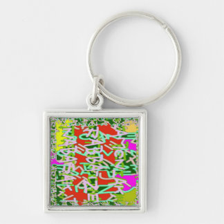 Alpha alphabet soup art abstract beauty Silver-Colored square keychain