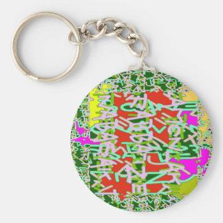 Alpha alphabet soup art abstract beauty basic round button keychain