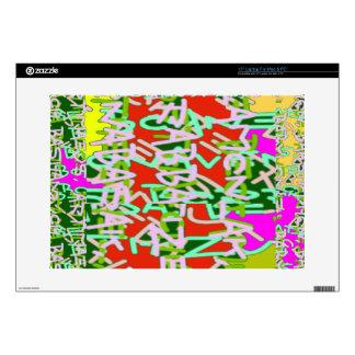 """Alpha alphabet soup art abstract beauty 15"""" laptop skin"""