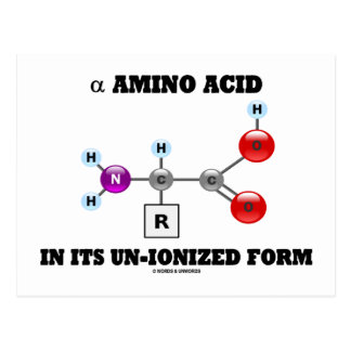 alpha Amino Acid In Its Un-Ionized Form (Molecule) Postcard