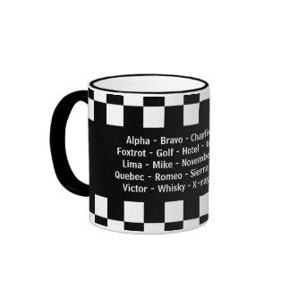 Alpha Bravo Charlie Echo Phonetic Alphabet Ringer Mug
