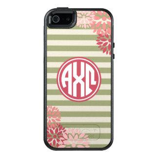 Alpha Chi Omega   Monogram Stripe Pattern OtterBox iPhone 5/5s/SE Case