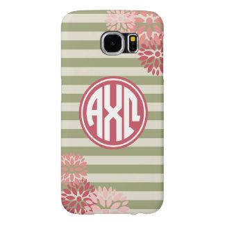 Alpha Chi Omega   Monogram Stripe Pattern Samsung Galaxy S6 Case