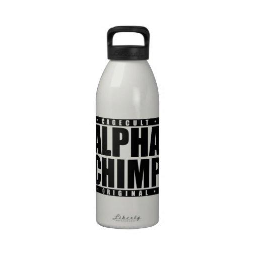 ALPHA CHIMP: Mixed Martial Arts Primate, Black Reusable Water Bottle