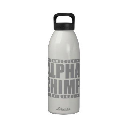 ALPHA CHIMP: Mixed Martial Arts Primate, Silver Reusable Water Bottle