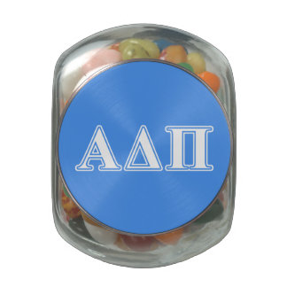 Alpha Delta Pi Dark Blue and White Letters Glass Candy Jars