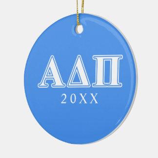 Alpha Delta Pi Dark Blue and White Letters Ceramic Ornament