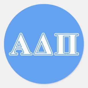 Alpha delta pi greek letters stickers zazzle alpha delta pi dark blue and white letters classic round sticker spiritdancerdesigns Gallery