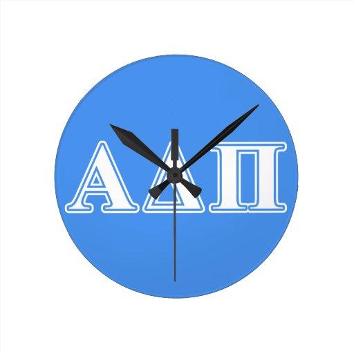 Alpha Delta Pi Dark Blue and White Letters Round Wallclocks